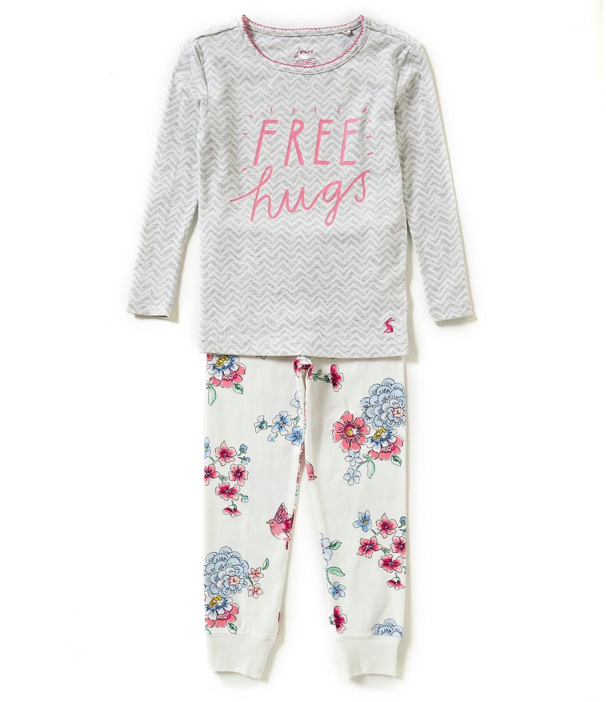 Joules Little Girls 3-6 Screenprint Top and Bottom Pajama Set