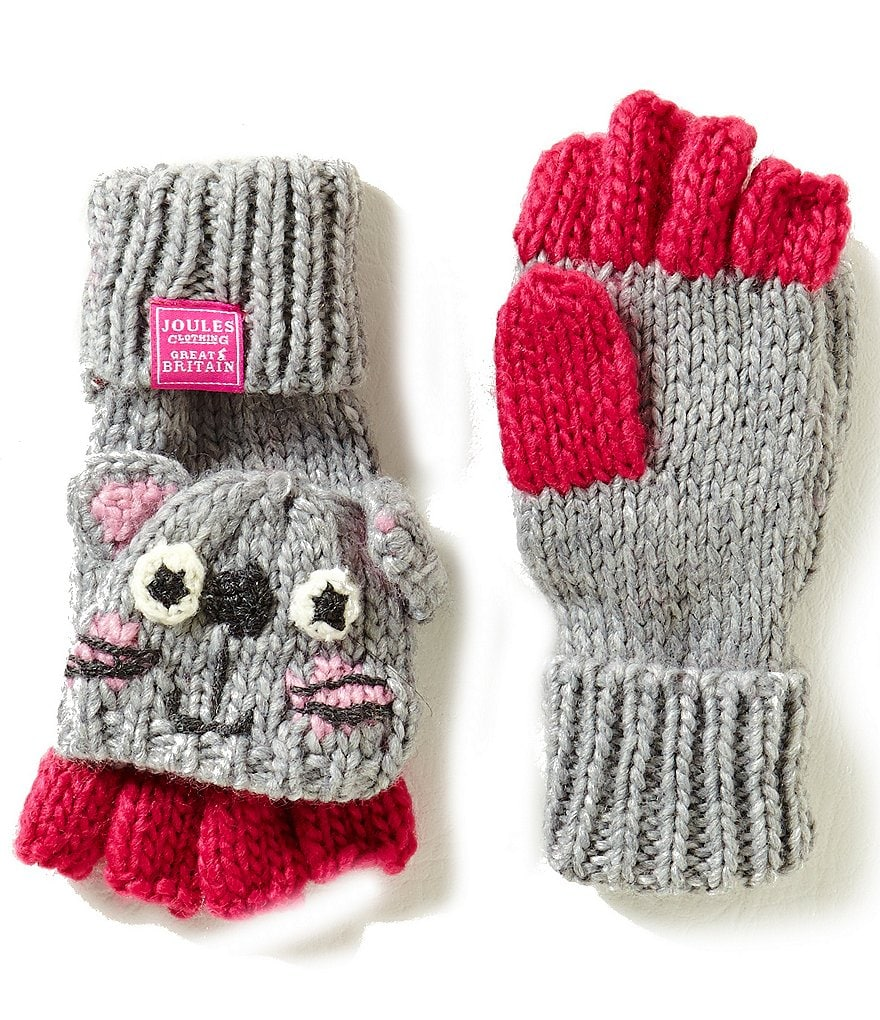 Joules Girls Hand Stitched Cat Character Fingerless Gloves