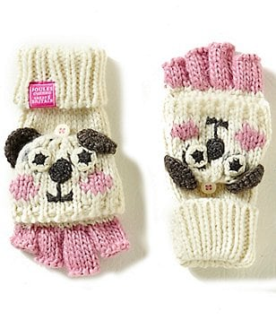 Joules Girls Hand Stitched Panda Character Fingerless Gloves