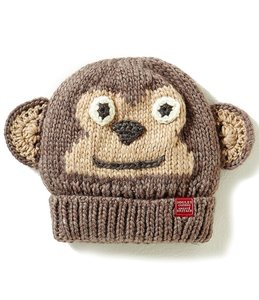 Joules Boys Hand Stitched Monkey Character Beanie Hat