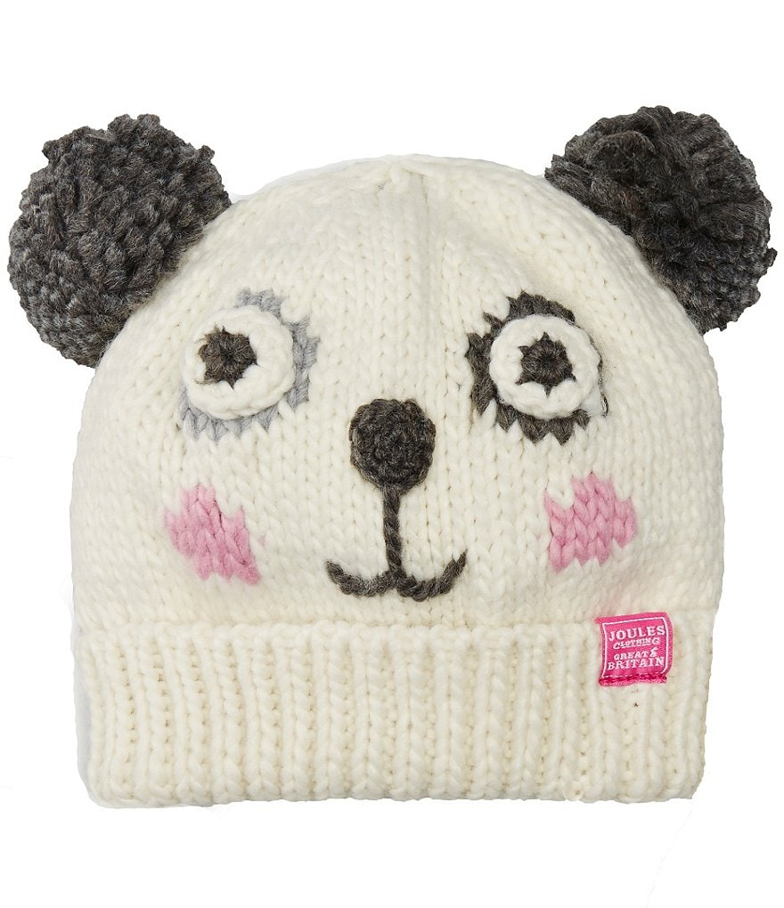 Joules Girls Hand Stitched Panda Character Beanie Hat