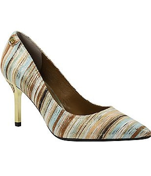 J. Renee Bryanne Metallic Stripe Pointed Toe Slip On Pumps