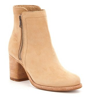 Frye Addie Tumbled Nubuck Double Zip Block Heel Booties