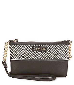 Calvin Klein Chevron Raffia Cross-Body Bag
