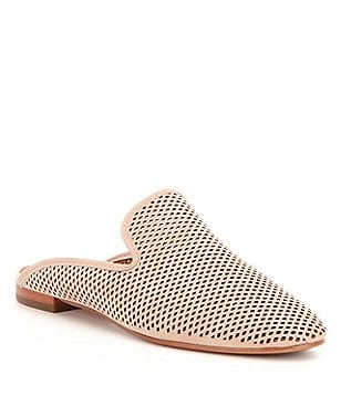 Frye Gwen Perforated Nubuck Slip On Flat Dress Mules
