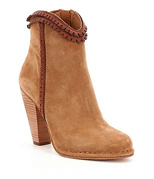 Frye Madeline Suede Leather Trim Pickstitched High Heel Short Boots