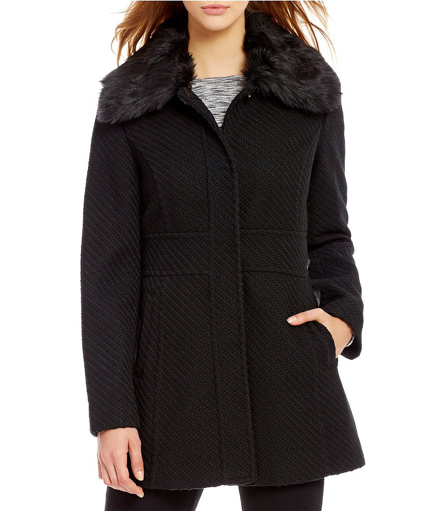 Jessica Simpson Faux-Fur Trim Collar Wool Single-Breasted Tabbed Waist Coat