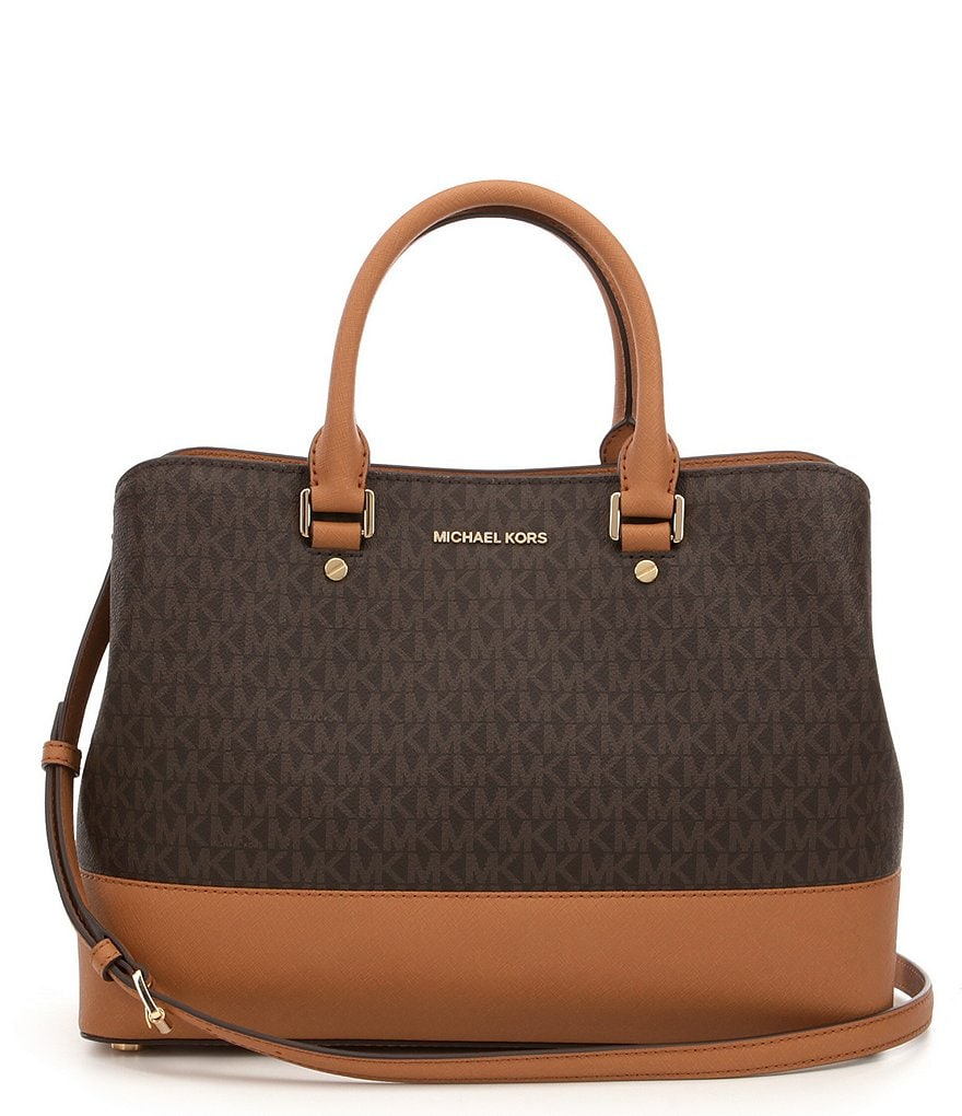 michael michael kors savannah signature large satchel dillards. Black Bedroom Furniture Sets. Home Design Ideas