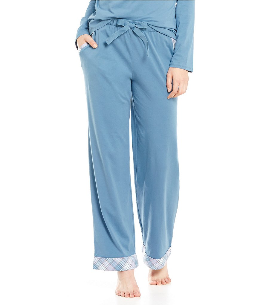 Sleep Sense Flannel-Trimmed Jersey Knit Sleep Pants