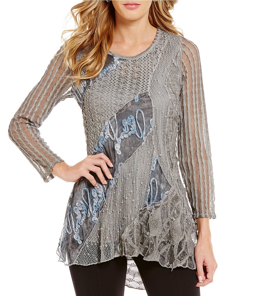 Paris Hues Mixed Media Long Sleeve Tunic