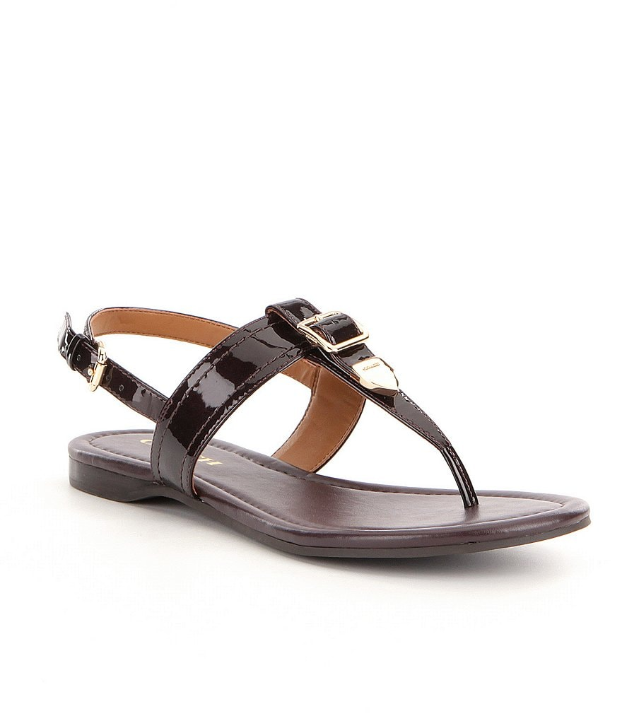 COACH CASSIDY PATENT LEATHER ANKLE STRAP CLOSURE SANDAL