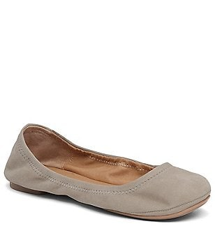 Lucky Brand Emmie Leather Round Toe Slip-On Ballet Flats