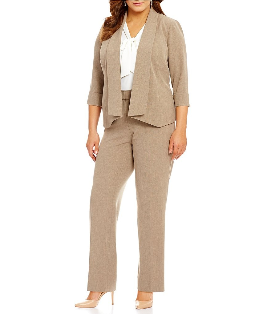 Kasper Plus Open-Front Jacket & Stretch Crepe Slim-Fit Pants