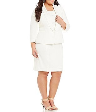 Kasper Plus Stretch Crepe Embroidered Shawl-Collar Jacket & Stretch Crepe Embroidered Sheath Dress
