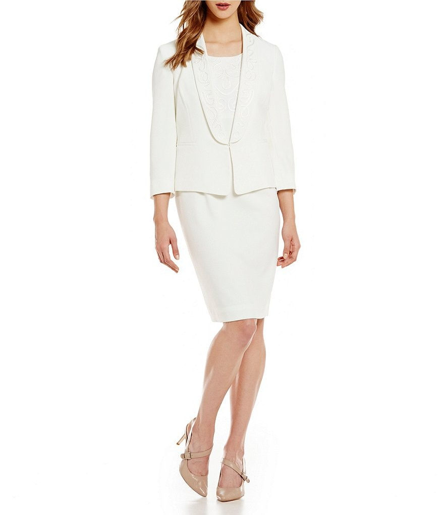 Kasper Stretch Crepe Embroidered Shawl-Collar Jacket & Sheath Dress