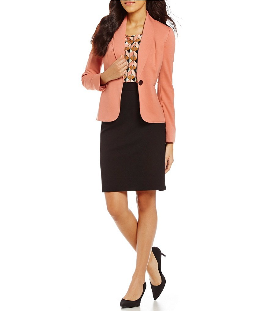 Kasper Shawl-Collar One-Button Jacket & Zipper- Detail Pencil Skirt