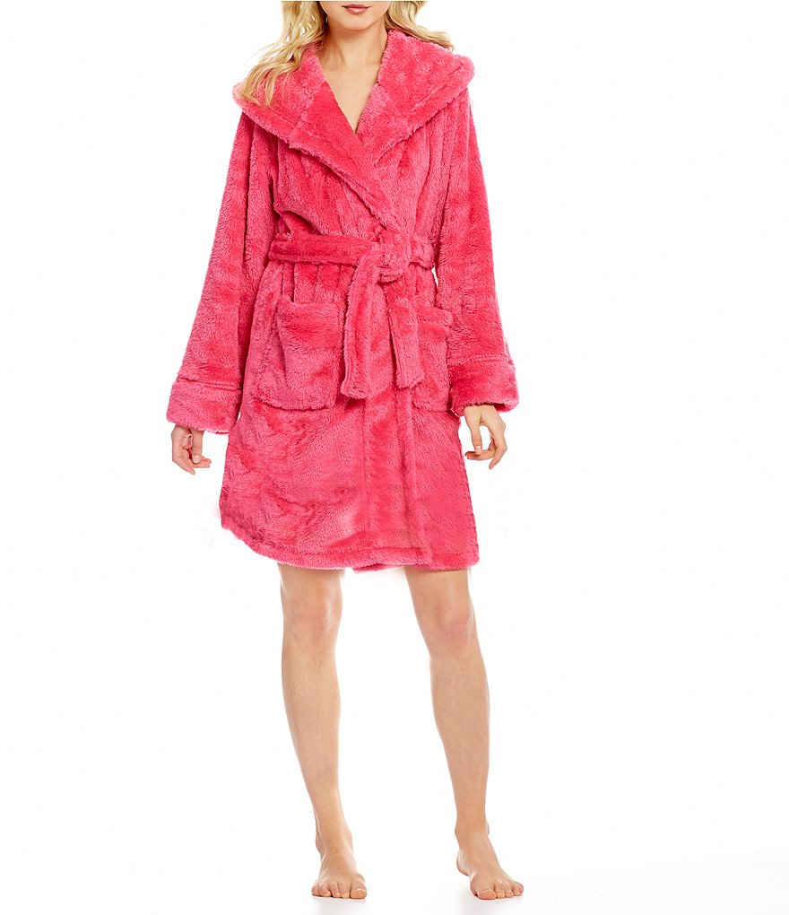 Jasmine & Ginger Fluffy Plush Hooded Wrap Robe