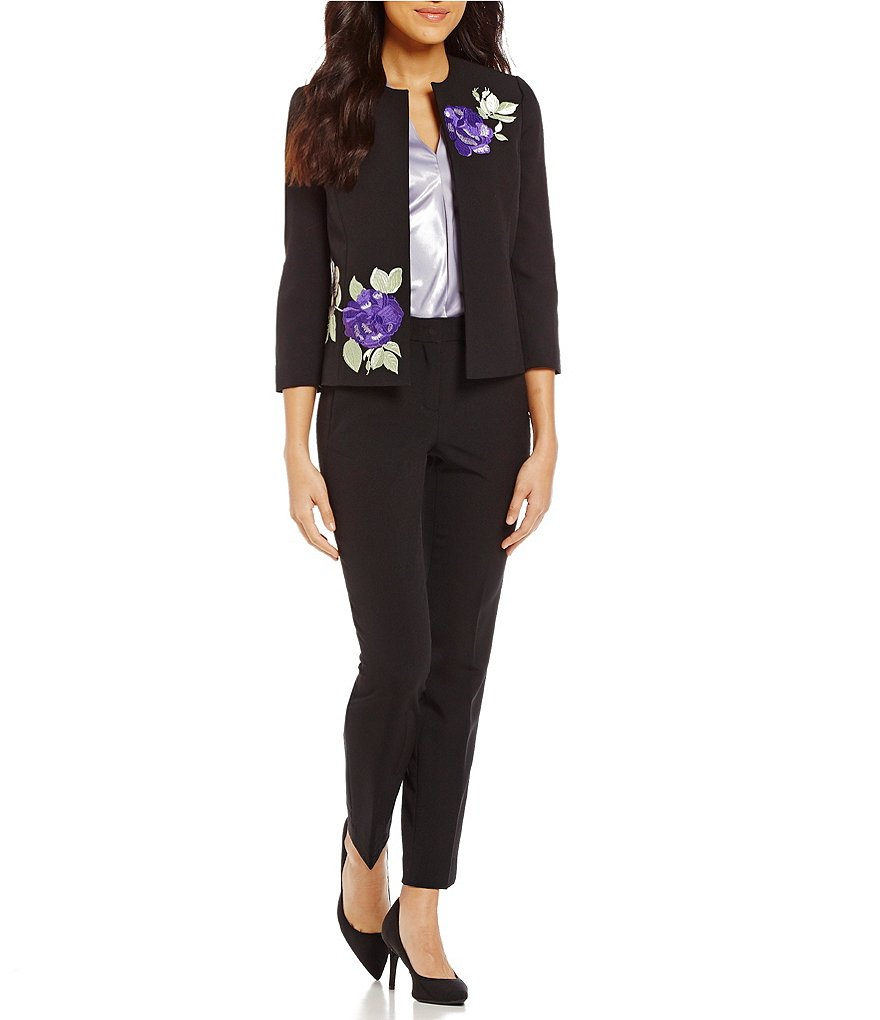 Kasper Floral-Embroidered Open-Front Jacket & Seamed Ankle Pants