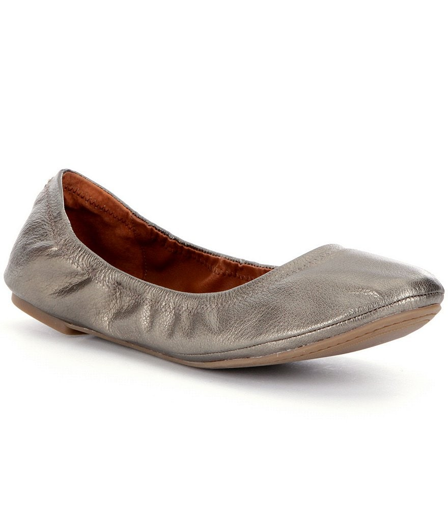 Lucky Brand Emmie Round Toe Metallic Leather Ballet Flats