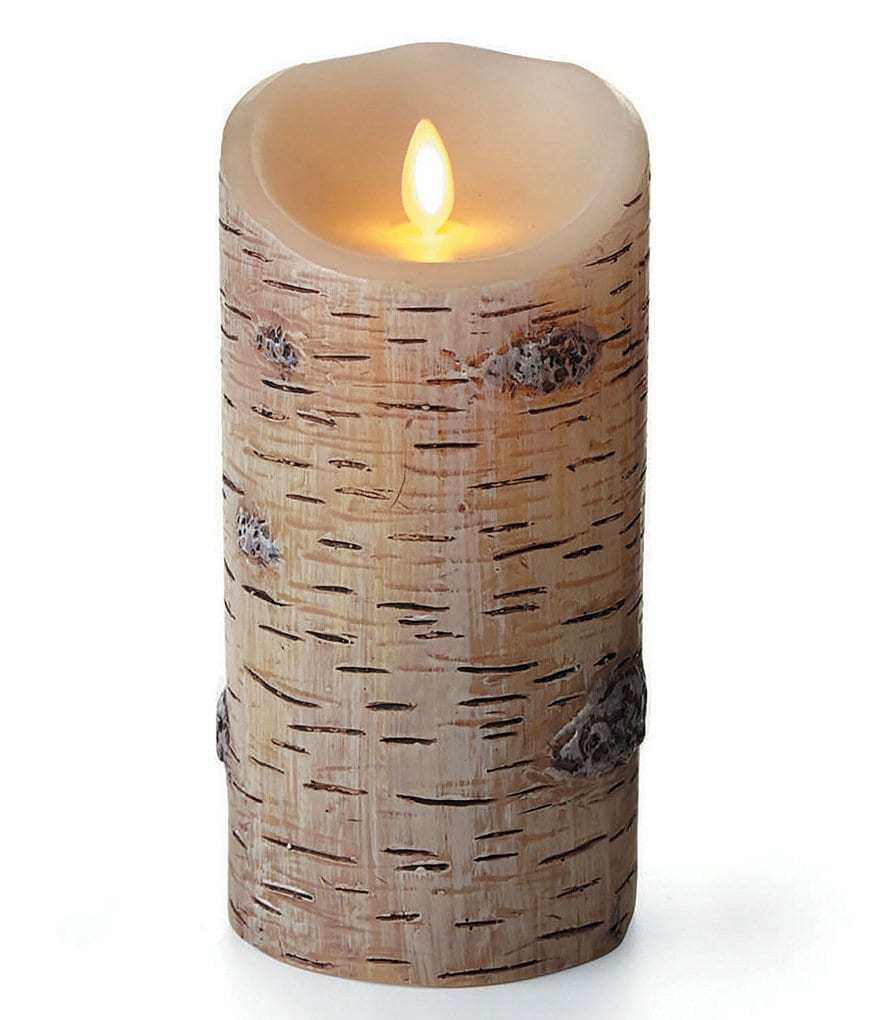 Luminara LED Real-Flame Effect Birch Pillar Candle