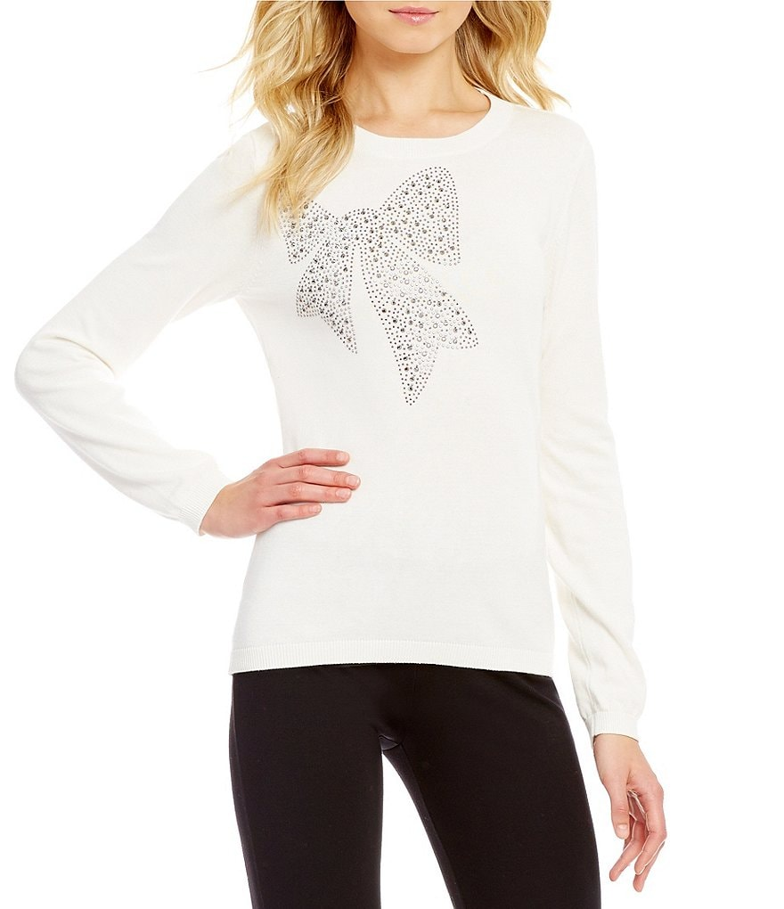 Cremieux Bee Embellished Bow Pullover Knit Sweater