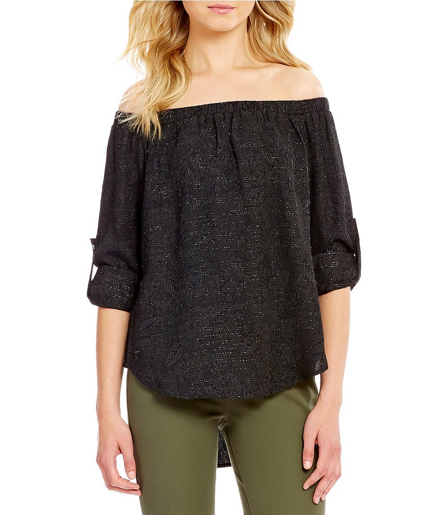 Cremieux Barb Jacquard Off-the-Shoulder Long Sleeve Blouse