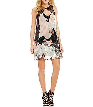 Guess Abril Sleeveless Floral-Printed Pleated Trapeze Dress