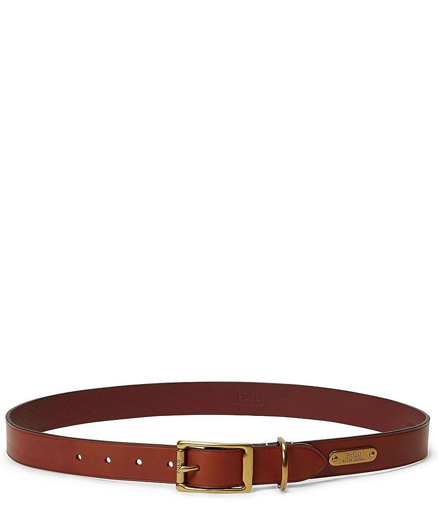 Polo Ralph Lauren Brass-Buckle Leather Belt