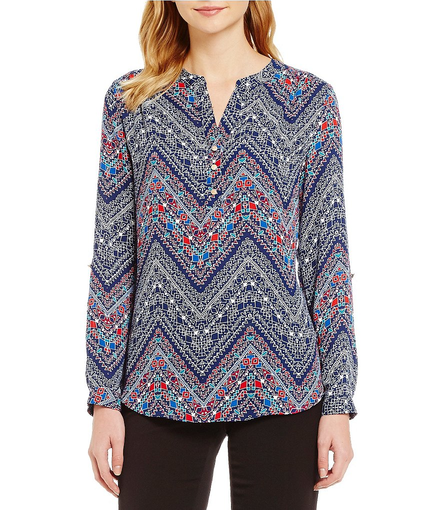 Investments Y-Neck Roll Tab Hi-Low Printed Blouse