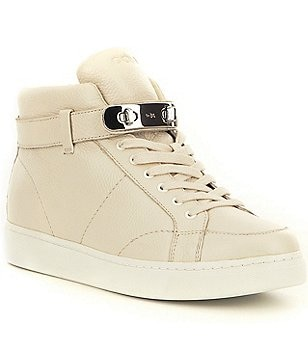 COACH ROBBY PEBBLED LEATHER LACE-UP BUCKLE SNEAKER