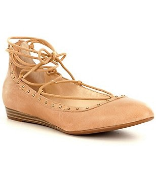 Jessica Simpson Libra Lace-Up Leather Ballet Flats