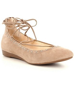 Jessica Simpson Libra Lace-Up Studded Leather Ballet Flats