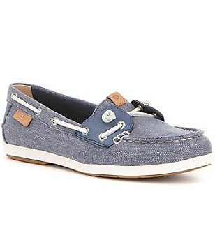 Sperry Coil Ivy Canvas Lace Up Slip On Adjustable In-Step Boat Shoe