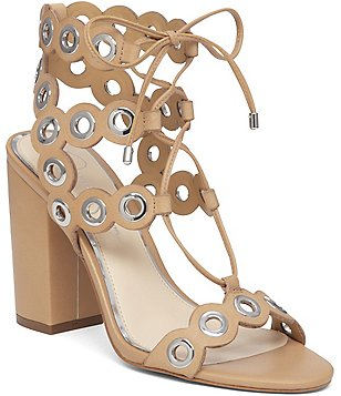 Jessica Simpson Kariss Leather Metal Detailed Lace Up Sandals
