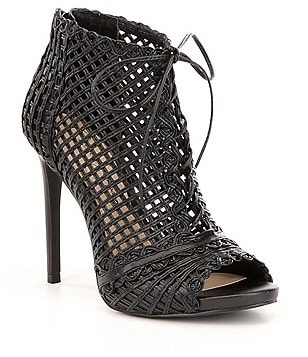 Jessica Simpson Rendy Perforated Peep Toe Lace Up Pumps