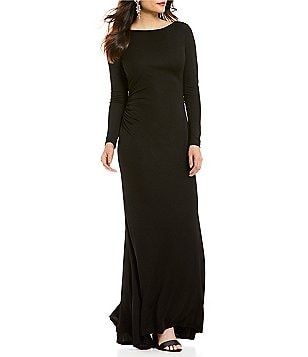 David Meister Fringe Cowl Back Boat Neck Long Sleeve Jersey Gown