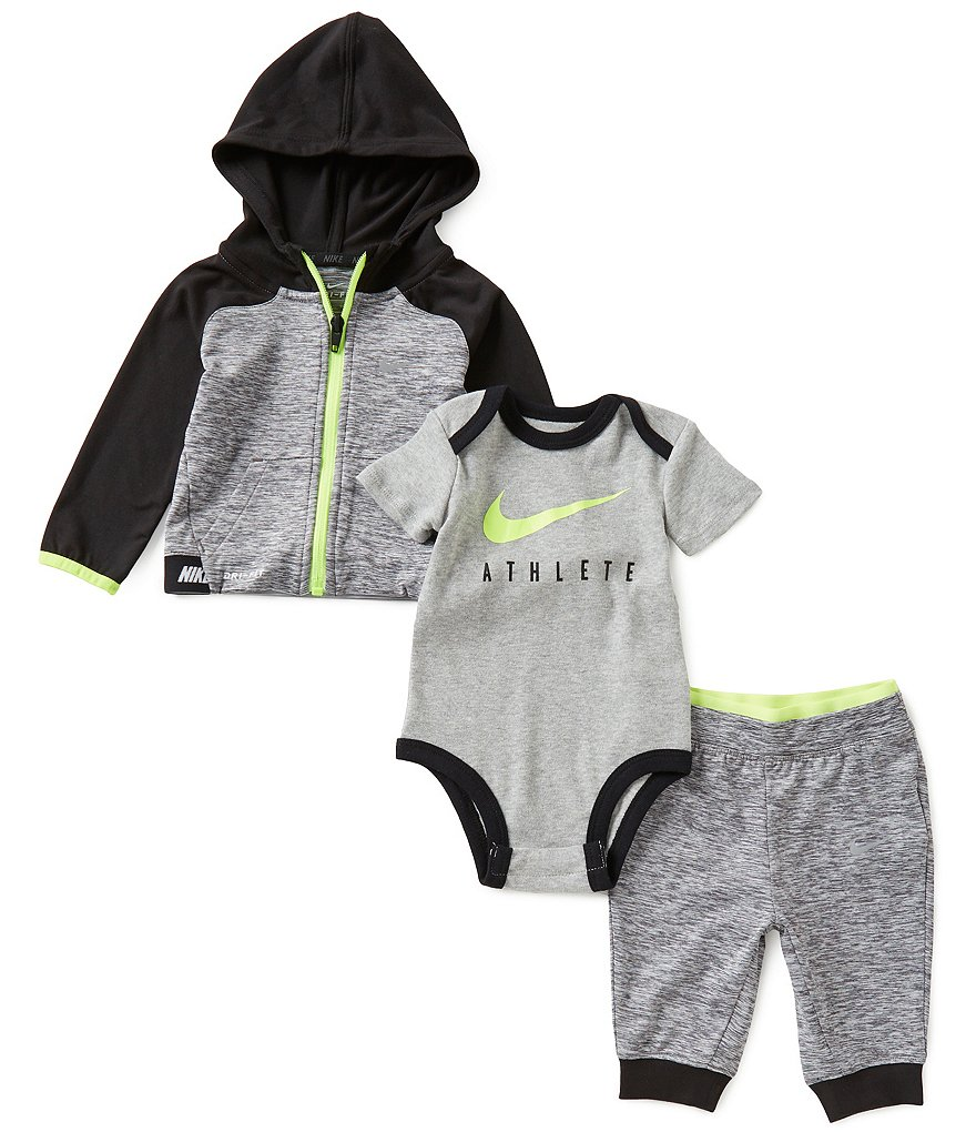 Nike Baby Boys Newborn-6 Months Color Block Hoodie, Pants, and Bodysuit Set