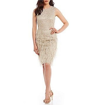 David Meister Lace and Feathers Sheath Dress