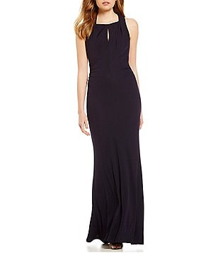 David Meister A-line Sleeveless Keyhole Jersey Gown