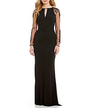 David Meister Keyhole Jersey Long Sleeve Gown