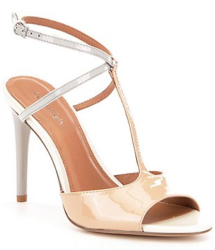 Calvin Klein Sarita Colorblock Patent Leather Dress Sandals