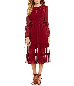 Gianni Bini Roxanne Bell Sleeve Tie-Neck Ruffle Midi Dress