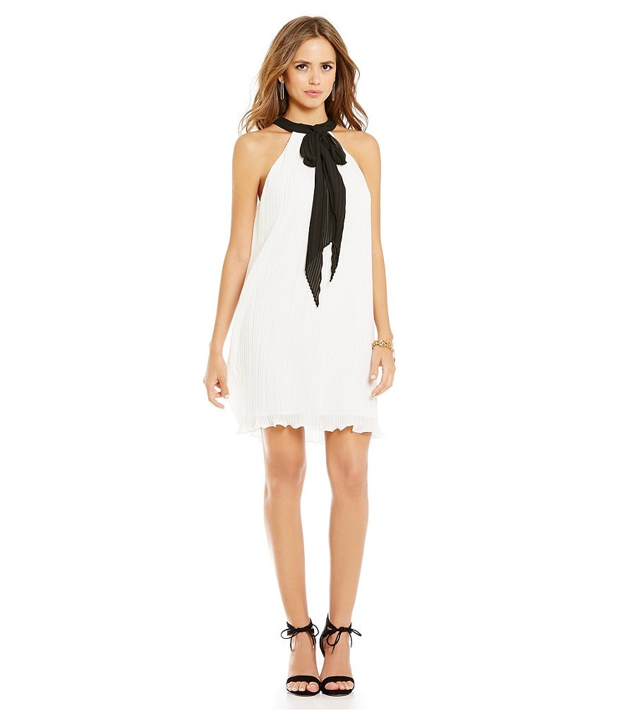 Gianni Bini Kylie Tie Neck Micro Pleat Dress