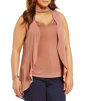 Democracy Plus Mock Neck Sleeveless Front Overlay Top