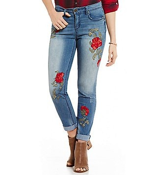 Code Bleu Gracie Rose Embroidered Boyfriend Jeans