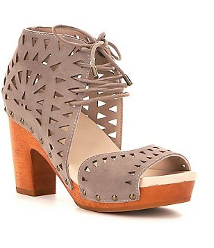 Jambu Simone Leather Lasercut Lace Up Block Heel Wood Sandals