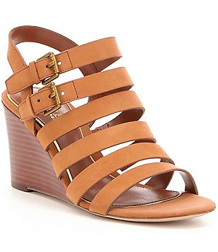 Lauren Ralph Lauren Aleigh Peep Toe Banded Wedge Sandals