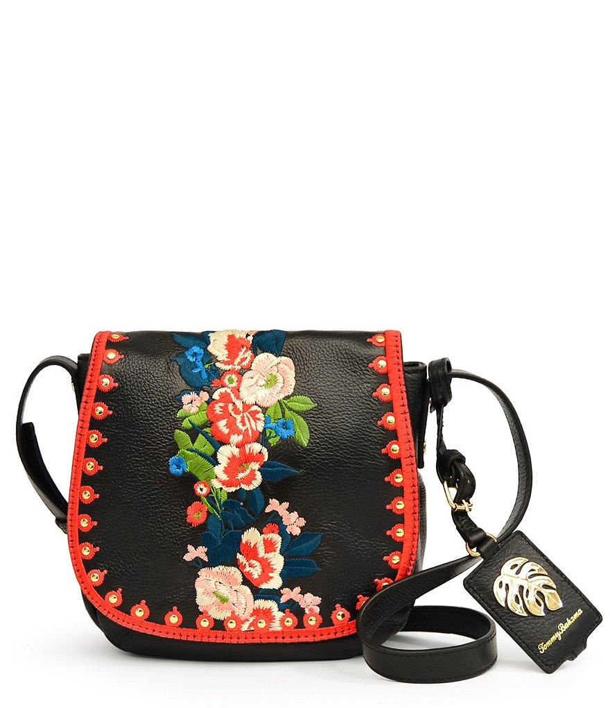 Tommy Bahama Amelia Leather Cross-Body Embroidered Saddle Bag