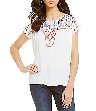 THML Crew Neck Embroidered Cap Sleeve Top