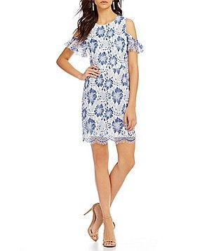 French Connection Antonia Lace Cold-Shoulder Short Sleeve Sheath Dress